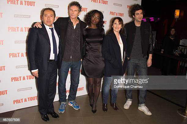 Patrick Timsit Nicolas Cuche Aissa Maiga Max Boublil and Chantal Lauby attend the 'Pret A Tout' Paris Premiere at Cinema Gaumont Marignan on January...