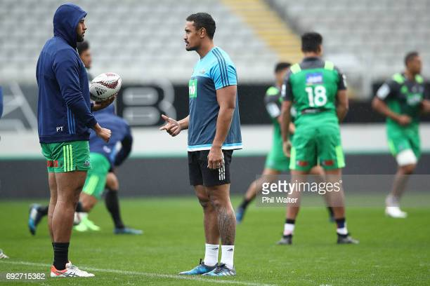 Patrick Tuipulotu and Jerome Kaino of the Blues during a Blues Captain's Run ahead of their match against the British Irish Lions at Eden Park on...