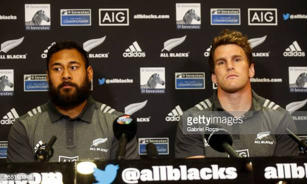 Patrick Tuipulotu and Matt Todd of All Blacks look on during a New Zealand Rugby Championship press conference prior to a match against Argentina at...