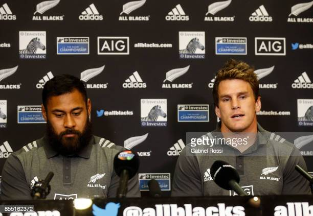 Patrick Tuipulotu and Matt Todd of All Blacks speak during a New Zealand Rugby Championship Press Conference prior to a match against Argentina at...
