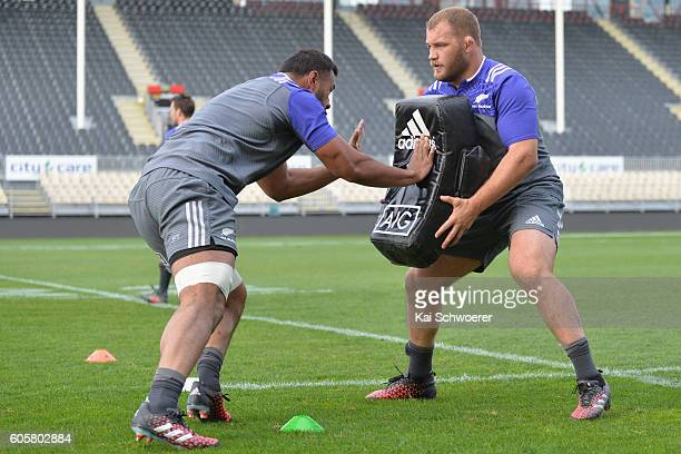 Patrick Tuipulotu and Owen Franks of the All Blacks in action during a New Zealand All Blacks training session on September 15 2016 in Christchurch...