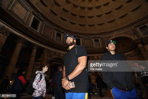 Patrick Tuipulotu and Rieko Ioane of the New Zealand All Blacks inside the Pantheon on November 9 2016 in Rome Italy The All Blacks will play against...