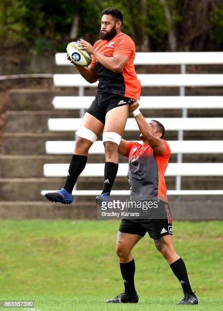 Patrick Tuipulotu in action during the All Blacks Captain's Run on October 20 2017 in Brisbane Australia