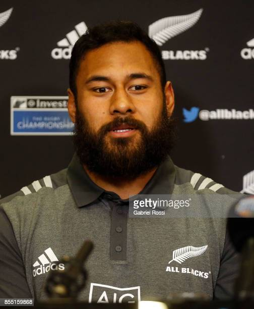 Patrick Tuipulotu lock of All Blacks looks on during a New Zealand Rugby Championship press conference prior to a match against Argentina at...