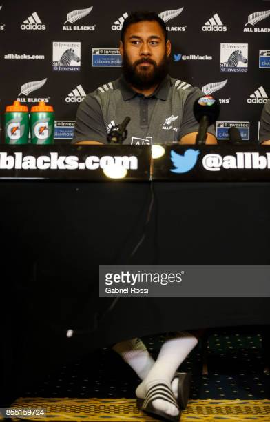 Patrick Tuipulotu of All Blacks looks on during a New Zealand Rugby Championship press conference prior to a match against Argentina at Emperador...