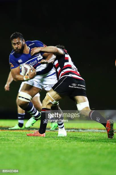 Patrick Tuipulotu of Auckland charges forward during the round one Mitre 10 Cup match between Counties Manukau and Auckland at ECOLight Stadium on...
