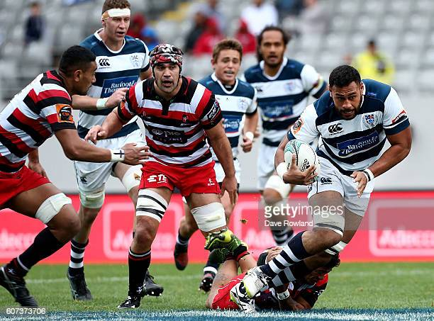 Patrick Tuipulotu of Auckland makes a run during the round five Mitre 10 Cup match between Auckland and Counties Manukau on September 18 2016 in...