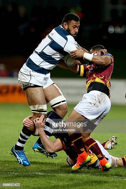 Patrick Tuipulotu of Auckland on the charge during the round three Mitre 10 Cup match between Southland and Auckland at Rugby Park Stadium on...