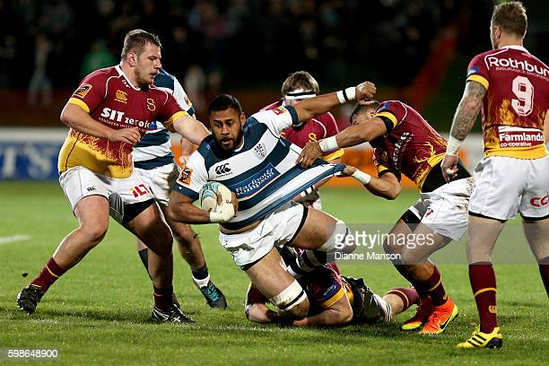 Patrick Tuipulotu of Auckland tries to break through the defence during the round three Mitre 10 Cup match between Southland and Auckland at Rugby...