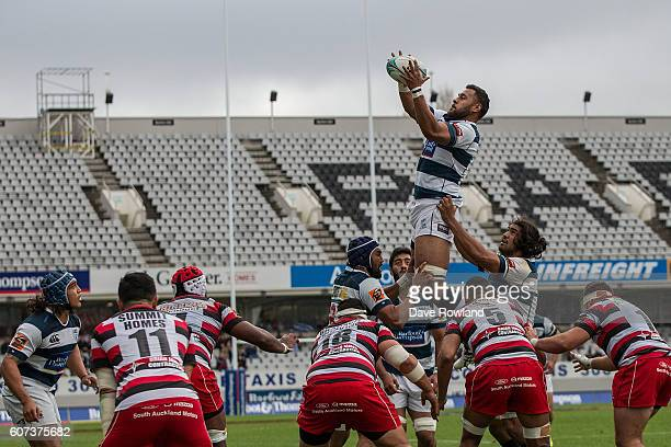 Patrick Tuipulotu of Auckland wins a lineout ball during the round five Mitre 10 Cup match between Auckland and Counties Manukau on September 18 2016...