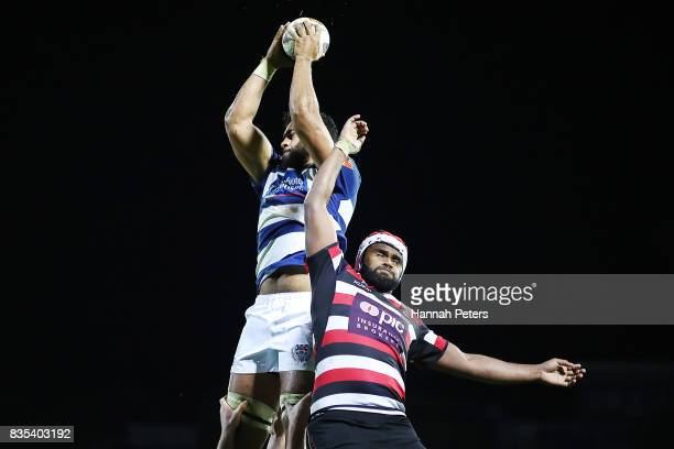 Patrick Tuipulotu of Auckland wins lineout ball during the round one Mitre 10 Cup match between Counties Manukau and Auckland at ECOLight Stadium on...