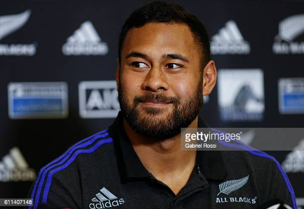 Patrick Tuipulotu of New Zealand looks on during a New Zealand All Blacks press conference at Emperador Hotel on September 29 2016 in Buenos Aires...