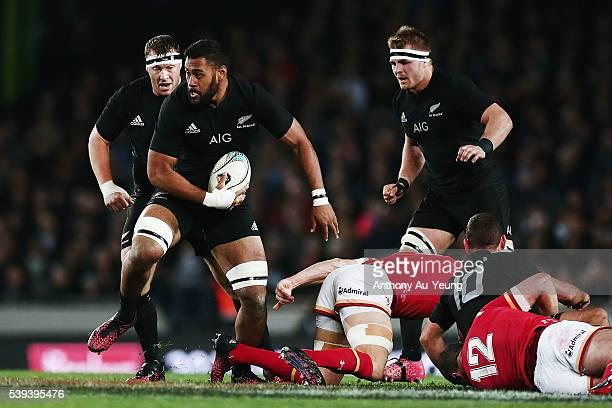 Patrick Tuipulotu of New Zealand runs the ball during the International Test match between the New Zealand All Blacks and Wales at Eden Park on June...