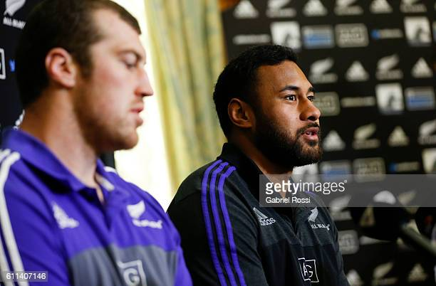 Patrick Tuipulotu of New Zealand speaks during a New Zealand All Blacks press conference at Emperador Hotel on September 29 2016 in Buenos Aires...