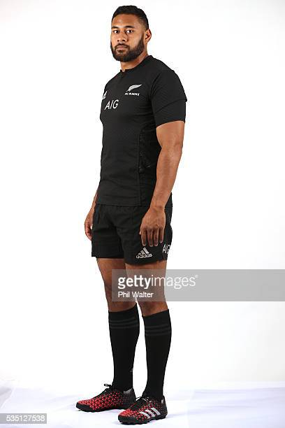 Patrick Tuipulotu of the All Blacks poses for a portrait during a New Zealand All Black portrait session on May 29 2016 in Auckland New Zealand