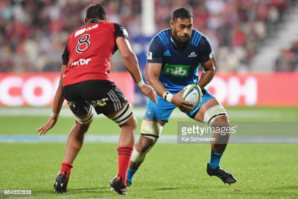 Patrick Tuipulotu of the Blues charges forward during the round four Super Rugby match between the Crusaders and the Blues at AMI Stadium on March 17...