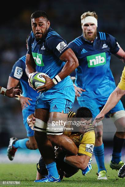 Patrick Tuipulotu of the Blues charges forward during the round three Super Rugby match between the Blues and the Hurricanes at Eden Park on March 11...