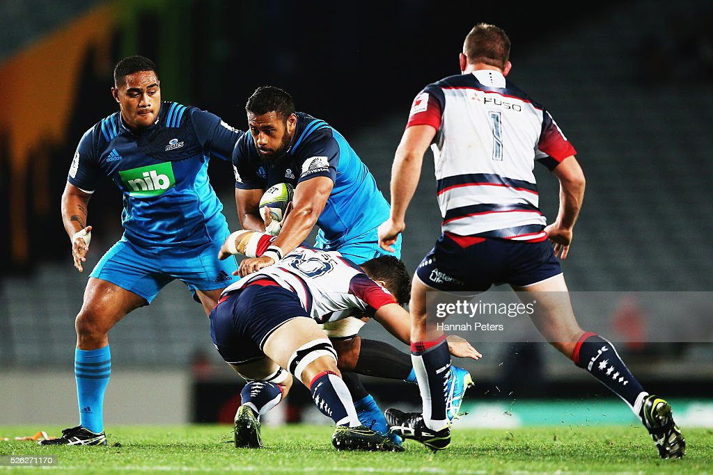 Patrick Tuipulotu of the Blues charges forward during the Super Rugby round ten match between the Blues and the Melbourne Rebels at Eden Park on April 30, 2016 in Auckland, New Zealand.