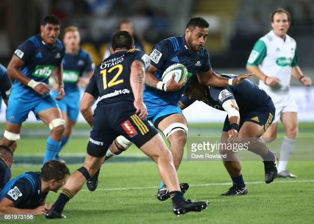 Patrick Tuipulotu of the Blues during the round three Super Rugby match between the Blues and the Highlanders at Eden Park on March 11 2017 in...