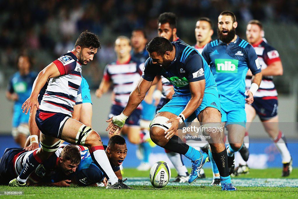 Patrick Tuipulotu of the Blues knocks the ball on during the Super Rugby round ten match between the Blues and the Melbourne Rebels at Eden Park on April 30, 2016 in Auckland, New Zealand.