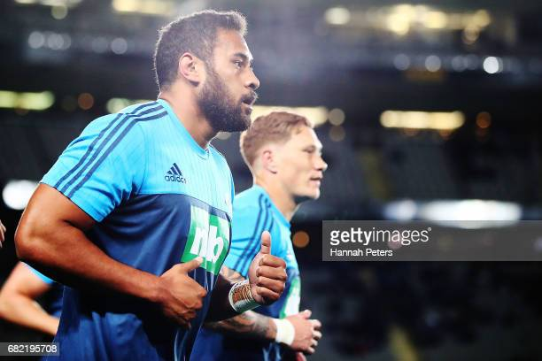 Patrick Tuipulotu of the Blues warms up ahead of the round 12 Super Rugby match between the Blues and the Cheetahs at Eden Park on May 12 2017 in...