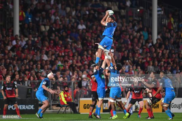 Patrick Tuipulotu of the Blues wins a lineout during the round four Super Rugby match between the Crusaders and the Blues at AMI Stadium on March 17...