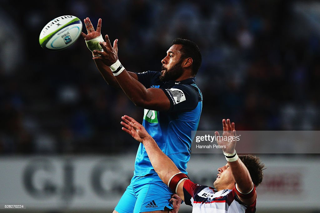 Patrick Tuipulotu of the Blues wins lineout ball during the Super Rugby round ten match between the Blues and the Melbourne Rebels at Eden Park on April 30, 2016 in Auckland, New Zealand.