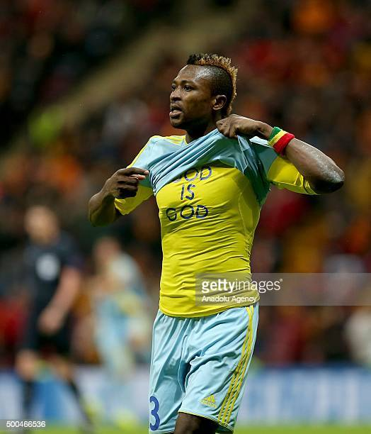 Patrick Twumasi of FC Astana celebrates after scoring a goal during the UEFA Champions League Group C football match between Galatasaray and FC...