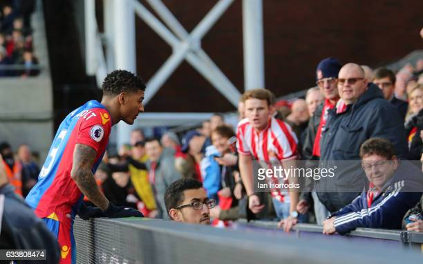 Patrick Van Aanholt of Crystal Paace asks for the ball from the Sunderland fans during the Premier League match between Crystal Palace and Sunderland...
