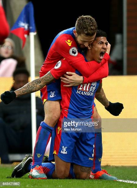 Patrick van Aanholt of Crystal Palace celebrates scoring his sides first goal with Yohan Cabaye of Crystal Palace during the Premier League match...
