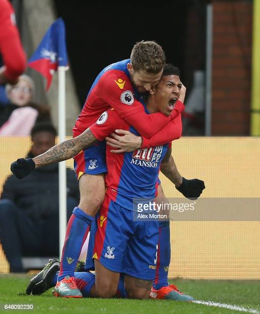 Patrick van Aanholt of Crystal Palace celebrates scoring their first goal during the Premier League match between Crystal Palace and Middlesbrough at...
