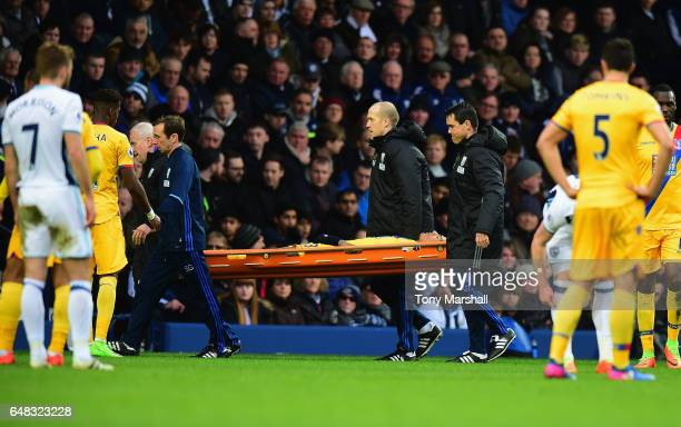 Patrick van Aanholt of Crystal Palace is stretchered off injured during the Premier League match between West Bromwich Albion and Crystal Palace at...