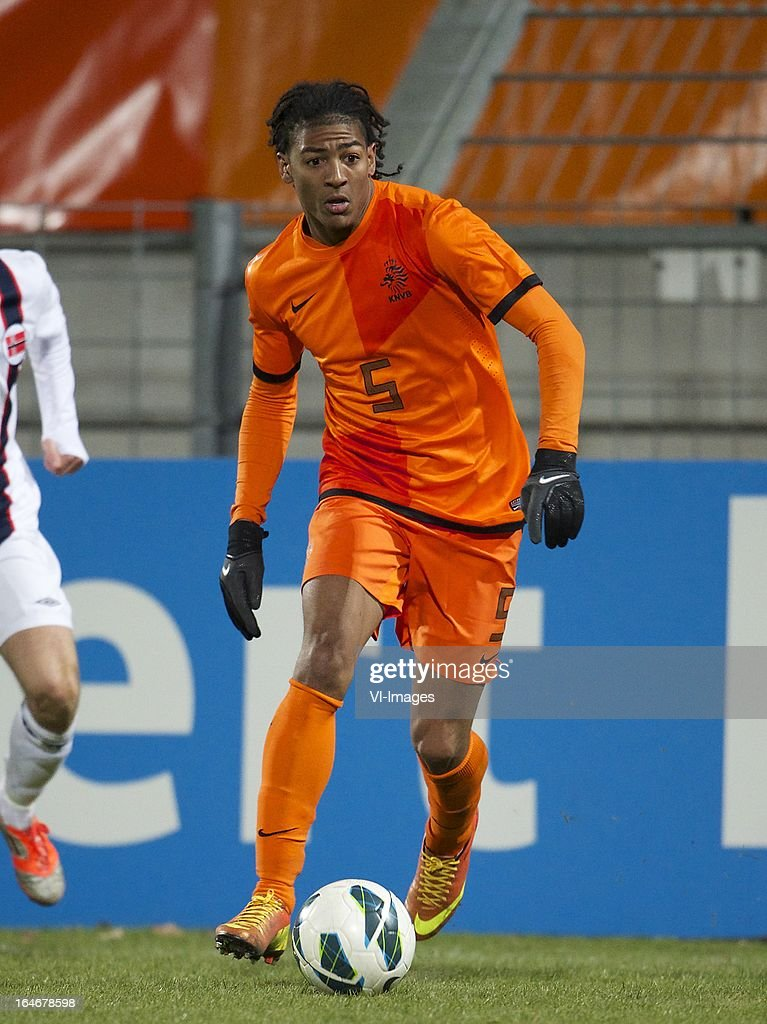 Patrick van Aanholt of Holland U21 during the friendly match between the Netherlands U21 and Norway U21 at the Mandemakers Stadium on march 25, 2013 in Waalwijk, The Netherlands