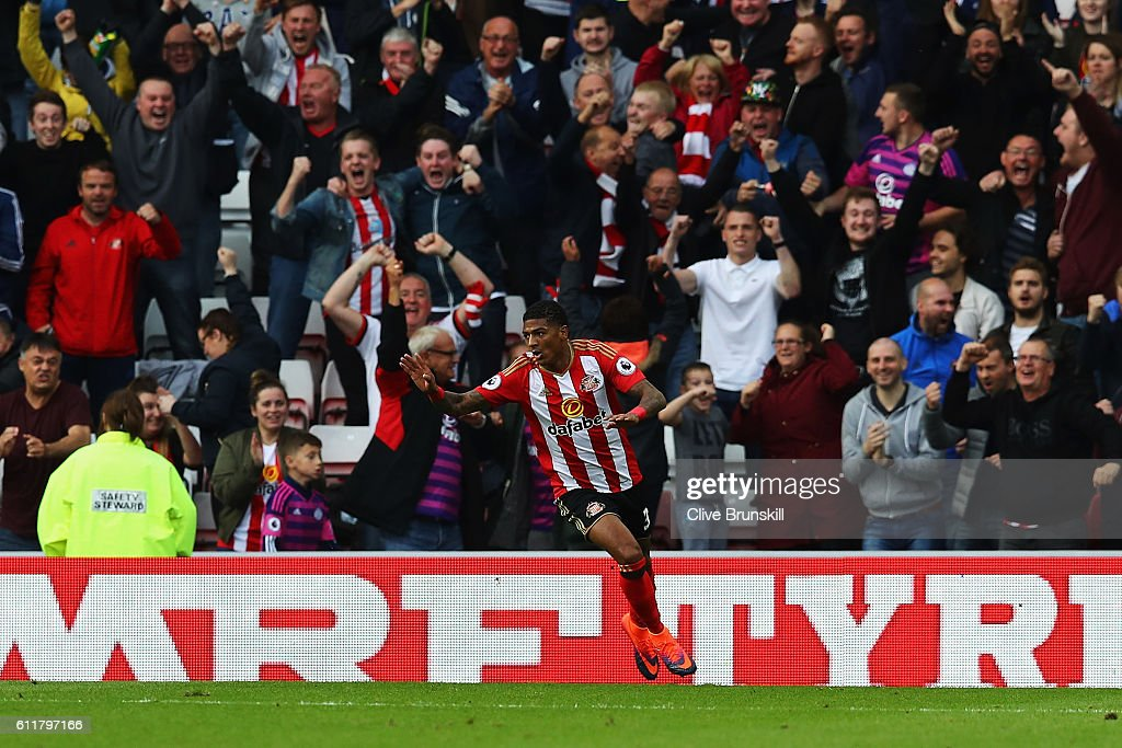 Patrick van Aanholt of Sunderland celebrates scoring his sides first goal during the Premier League match between Sunderland and West Bromwich Albion at Stadium of Light on October 1, 2016 in Sunderland, England.