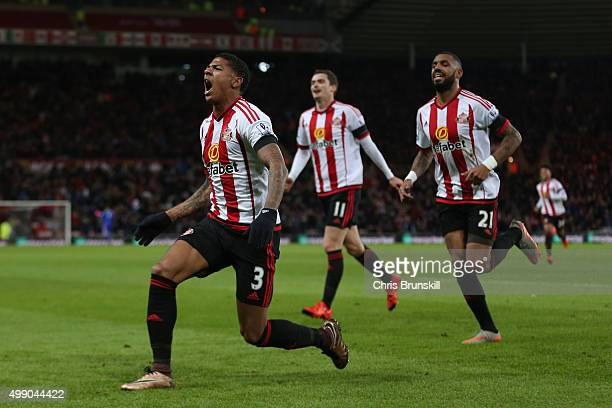 Patrick van Aanholt of Sunderland celebrates scoring his team's first goal during the Barclays Premier League match between Sunderland and Stoke City...