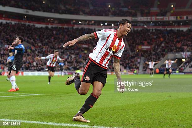 Patrick van Aanholt of Sunderland celebrates scoring his team's first goal during the Barclays Premier League match between Sunderland and AFC...