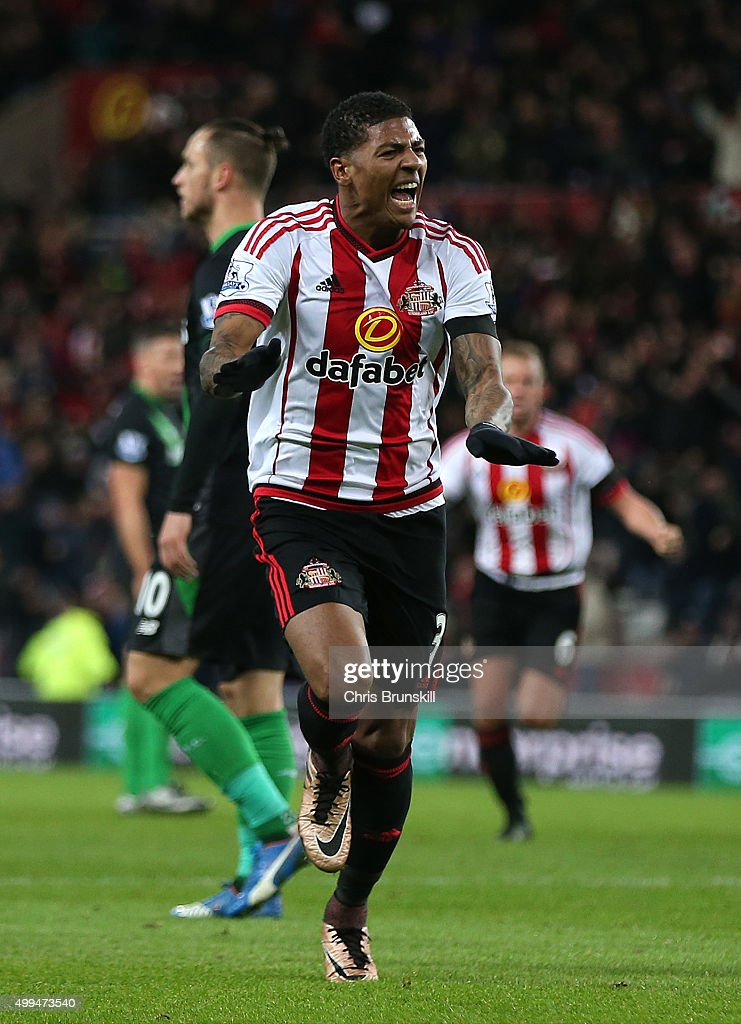 Patrick Van Aanholt of Sunderland celebrates scoring the opening goal during the Barclays Premier League match between Sunderland and Stoke City at...