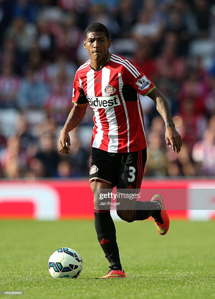 Patrick van Aanholt of Sunderland controls the ball during the Barclays Premier League match between Sunderland and Tottenham Hotspur at Stadium of...