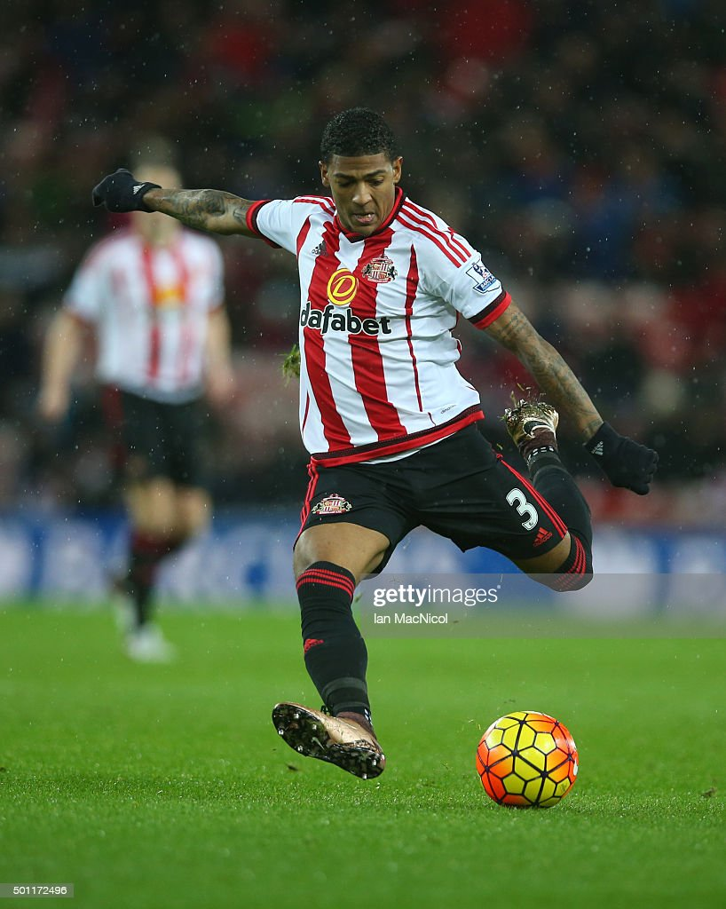 Patrick van Aanholt of Sunderland controls the ball during the Barclays Premier League match between Sunderland and Watford at The Stadium of Light...