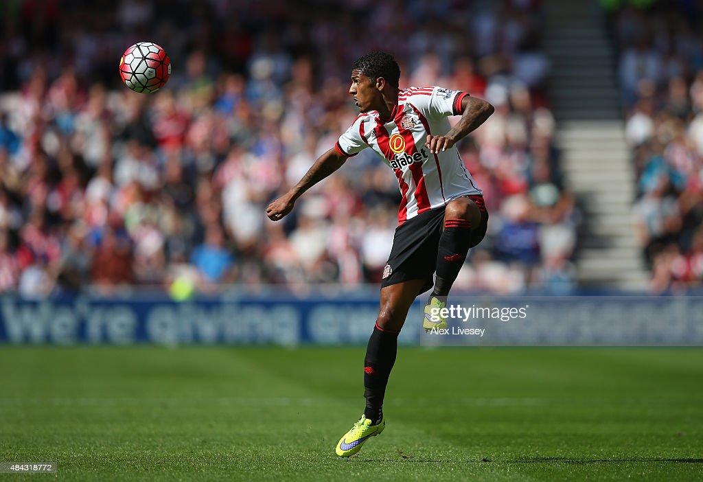 Patrick van Aanholt of Sunderland during the Barclays Premier League match between Sunderland and Norwich City at the Stadium of Light on August 15...