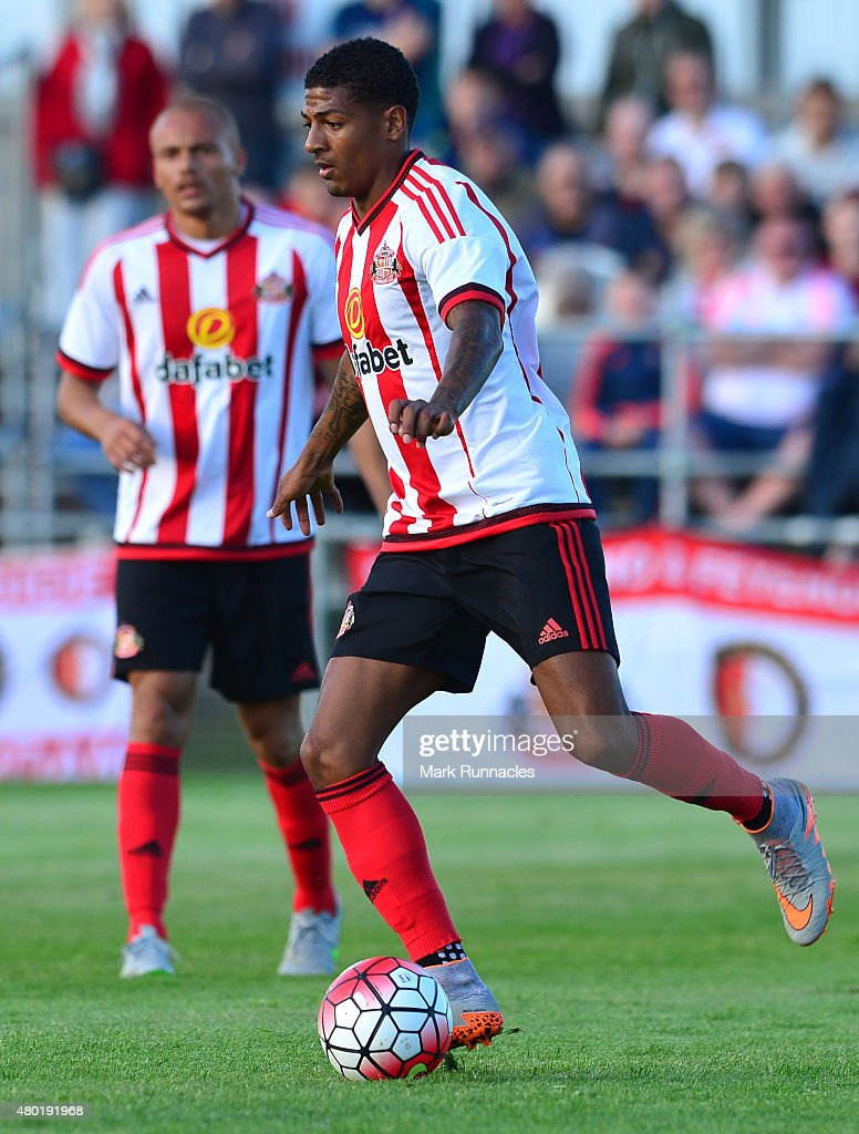 Patrick Van Aanholt of Sunderland in action during a pre season friendly between Darlington and Sunderland at Heritage Park on July 9 2015 in Bishop...