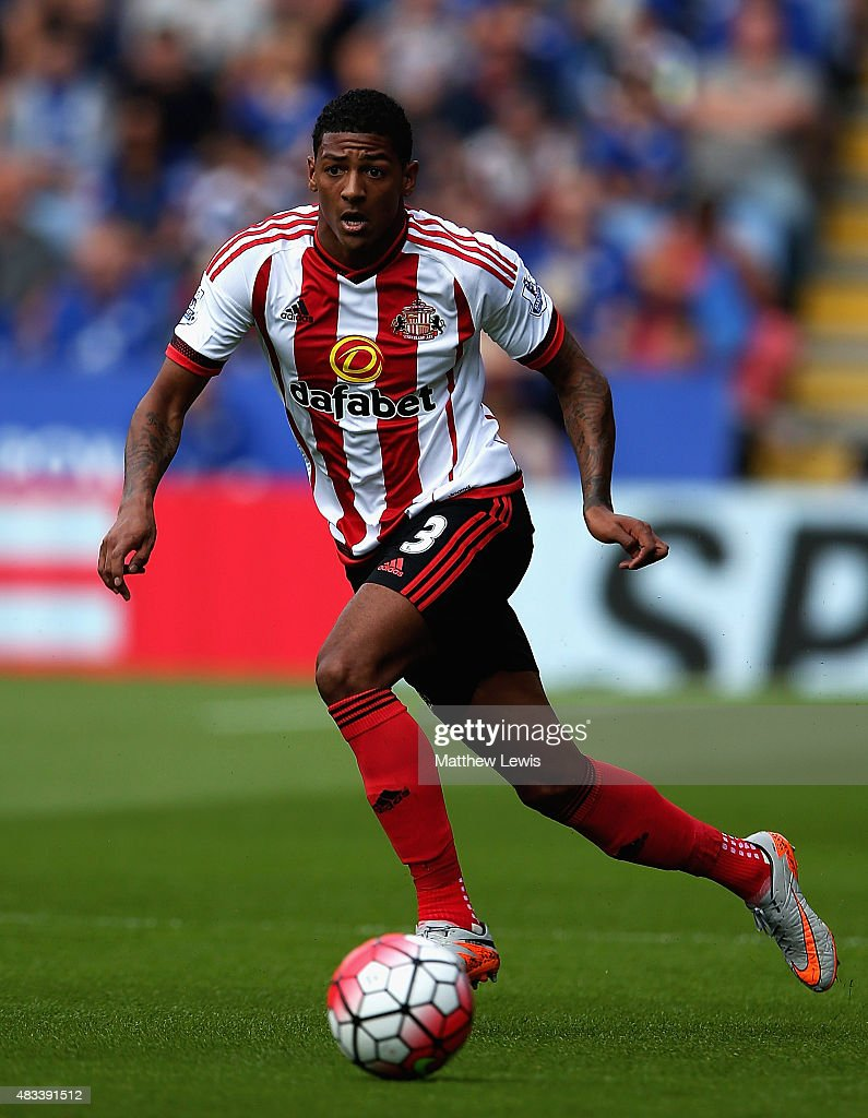 Patrick Van Aanholt of Sunderland in action during the Barclays Premier League match between Leicester City and Sunderland at The King Power Stadium...