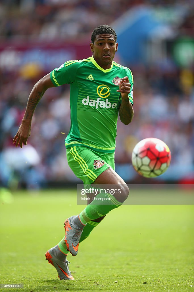 Patrick Van Aanholt of Sunderland in action during the Barclays Premier League match between Aston Villa and Sunderland at Villa Park on August 29...