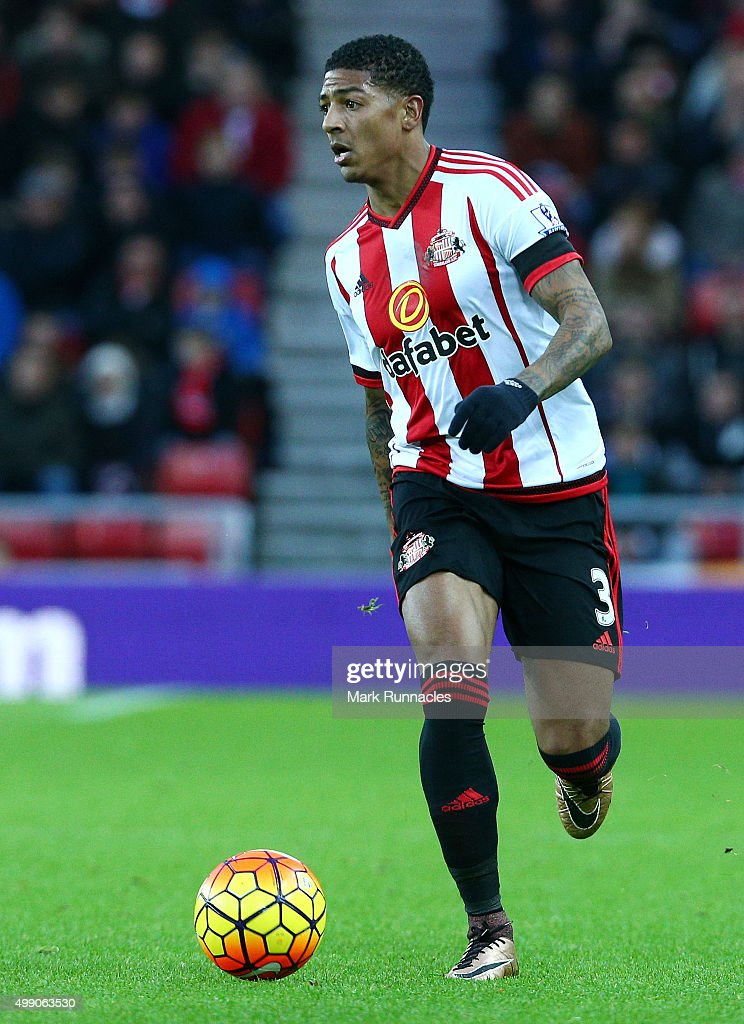 Patrick Van Aanholt of Sunderland in action during the Barclays Premier League match between Sunderland AFC and Stoke City FC at the Stadium of Light...