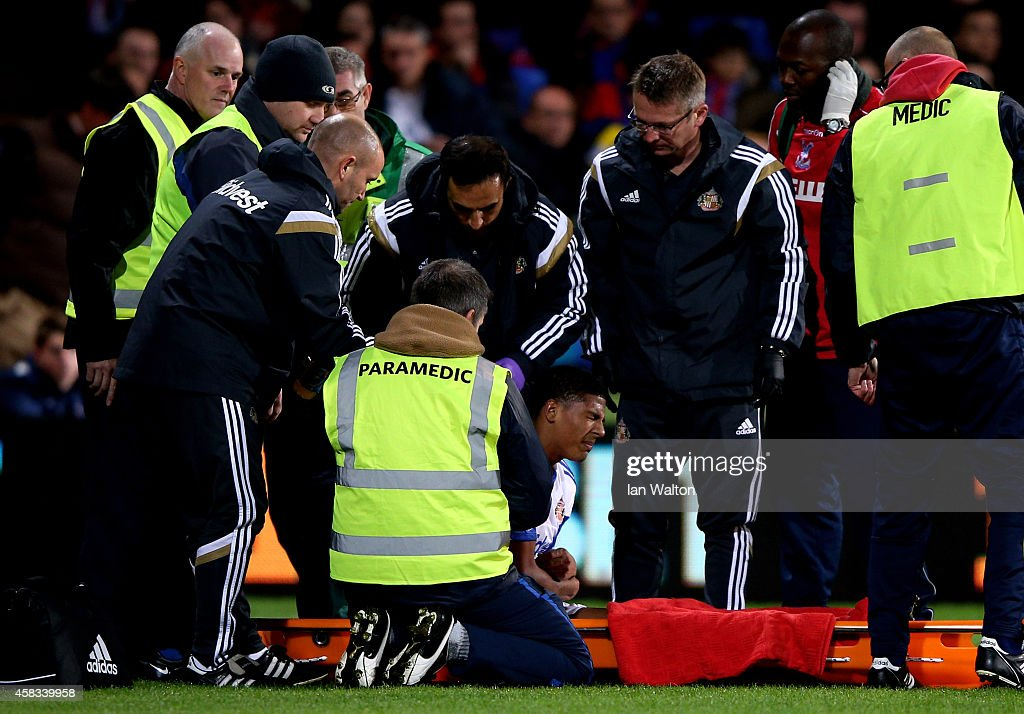 Patrick van Aanholt of Sunderland is stretchered off the pitch due to injury during the Barclays Premier League match between Crystal Palace and...