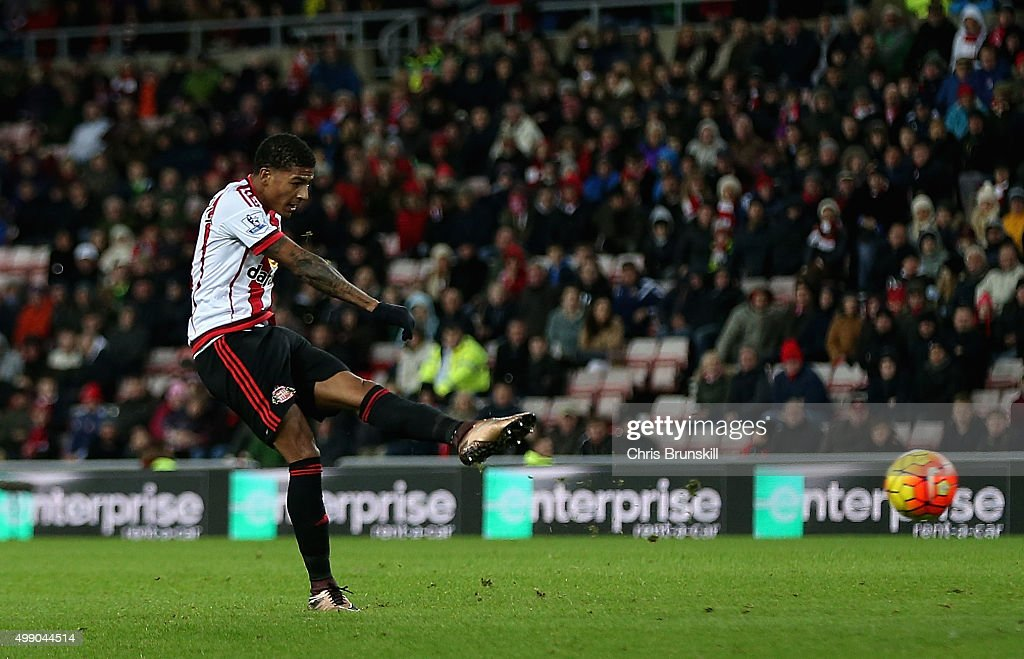 Patrick van Aanholt of Sunderland scores his team's first goal during the Barclays Premier League match between Sunderland and Stoke City at Stadium...