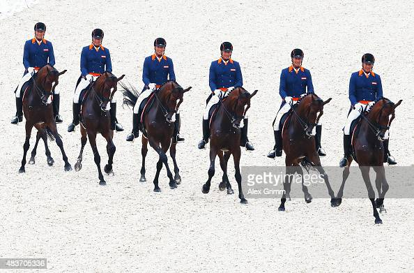 Patrick van der Meer of the Netherlands competes on his horse Uzzo in the Dressage Grand Prix team final and individual qualifier competition during...