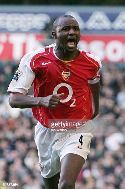 Patrick Vieira of Arsenal celebrates his goal during the Barclays Premiership match between Tottenham Hotspur and Arsenal at White Hart Lane on...
