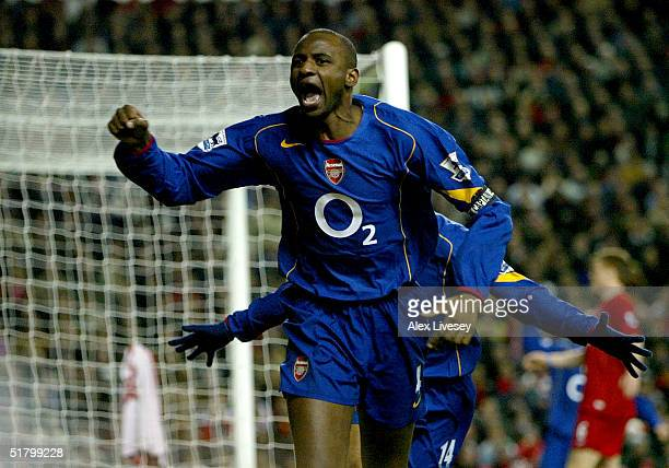 Patrick Vieira of Arsenal celebrates scoring a goal against Liverpool during the Barclays Premiership match between Liverpool and Arsenal at Anfield...
