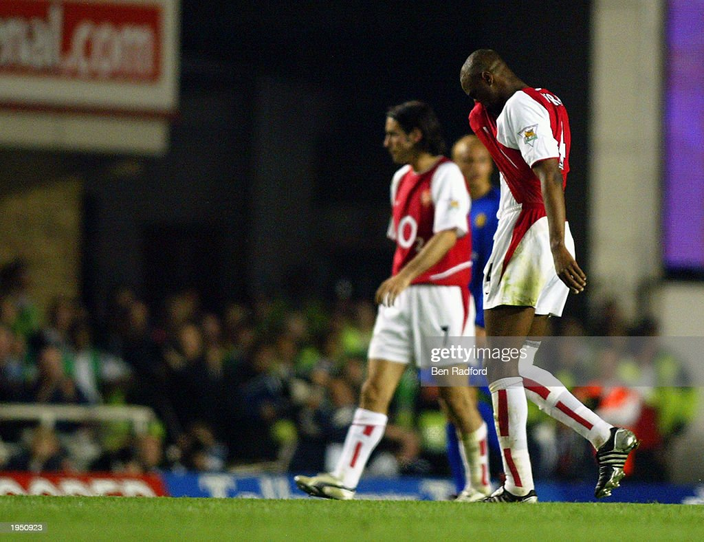Patrick Vieira of Arsenal is subsituted during the FA Barclaycard Premiership match between Arsenal and Manchester United held on April 16, 2003 at Highbury in London, England. The match ended in a 2-2 draw.
